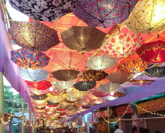 Creative Umbrella ceiling in Pandal