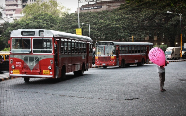 Red bus with The Travellist